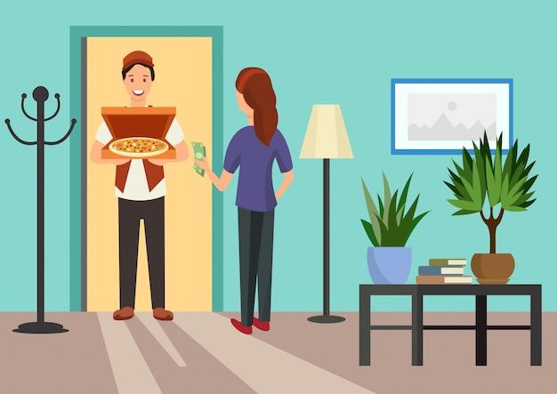 Cartoon woman meets courier with pizza in doorway Premium Vector