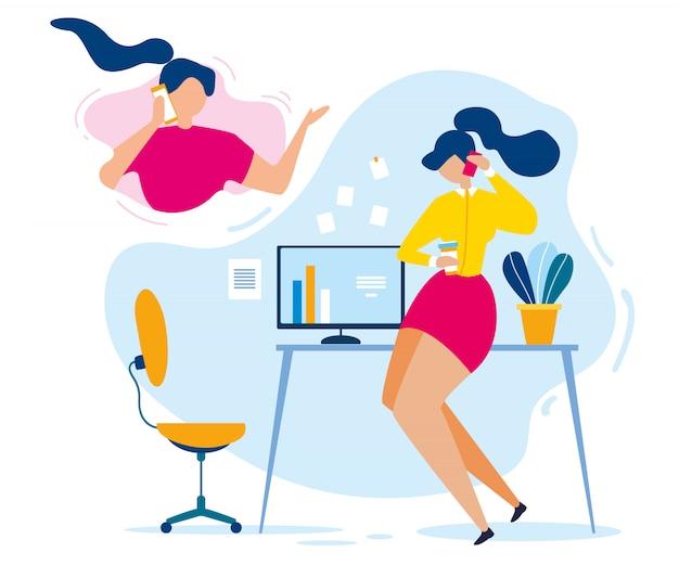 Cartoon woman mobile phone friend conversation Premium Vector