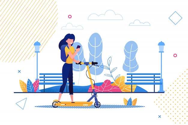 Cartoon woman riding scooter holding mobile phone. Premium Vector