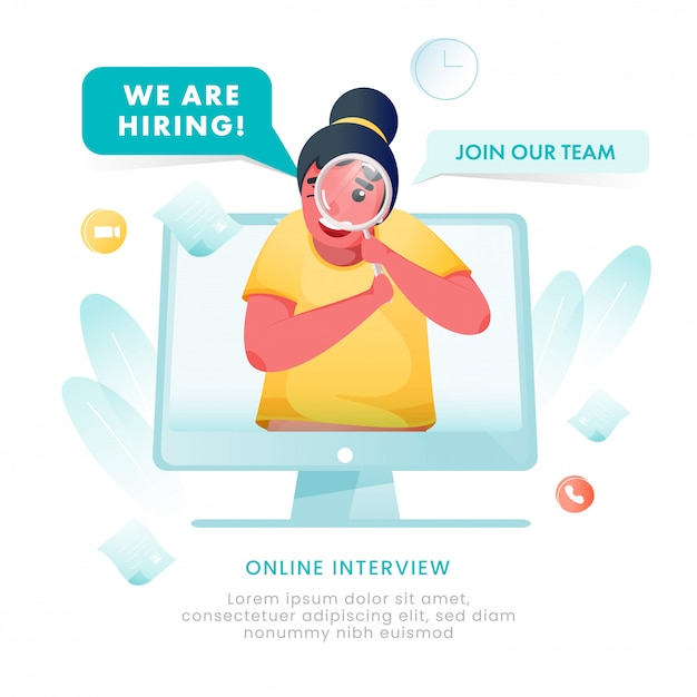 Cartoon woman searching candidates in computer and saying we are hiring, online interview to join our team for advertising concept. Premium Vector