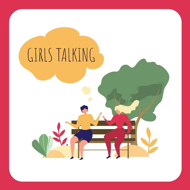 漫画女性は公園のベンチに座っています。屋外で話している女の子 無料ベクター