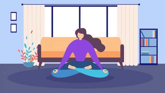 Cartoon woman sitting eyes closed home meditation Premium Vector