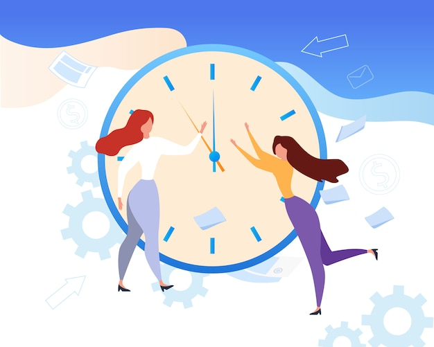 Cartoon woman stop clock hands time management Premium Vector