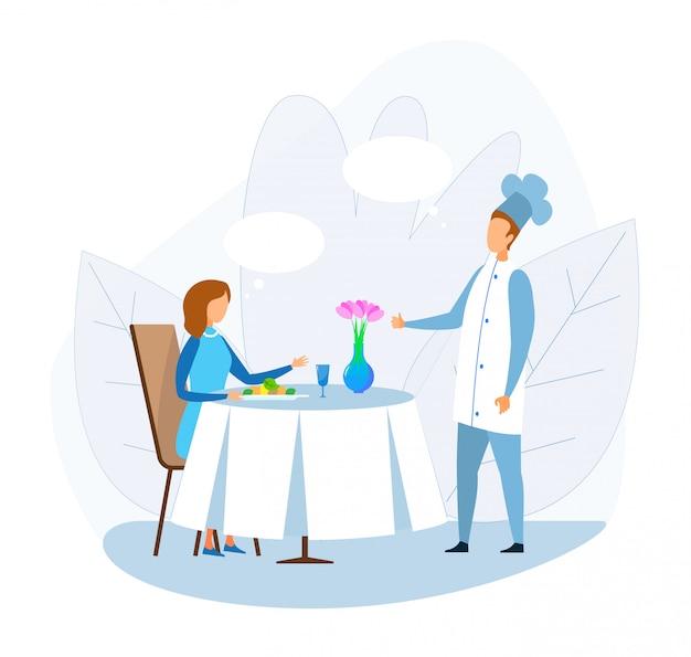 Cartoon woman talking with chef at restaurant Premium Vector