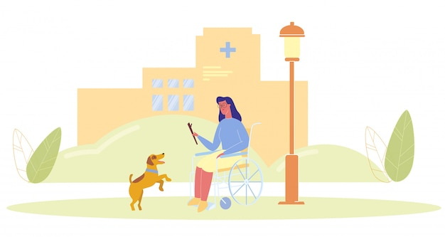 Cartoon woman in wheelchair play with service dog Premium Vector