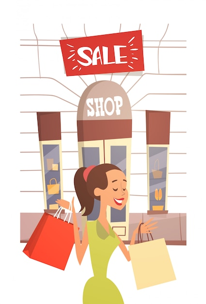 Cartoon woman with shopping bag big sale banner retial store exterior Premium Vector