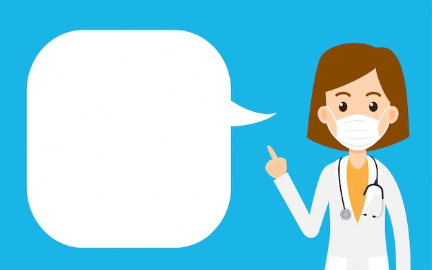 Cartoon women doctor wearing protective mask and pointing finger with a speech bubble Premium Vector