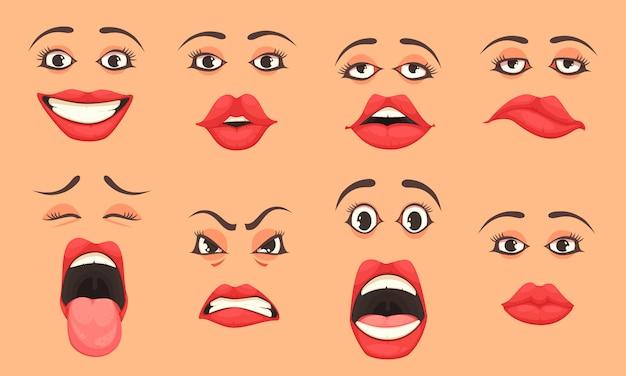 Cartoon women mouth set Free Vector