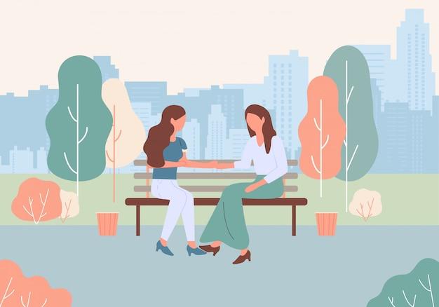 Cartoon women sit bench at city park street talk Premium Vector