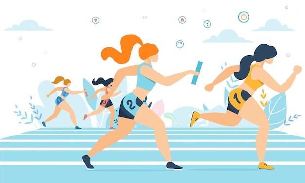 Cartoon women taking part in running marathon Premium Vector