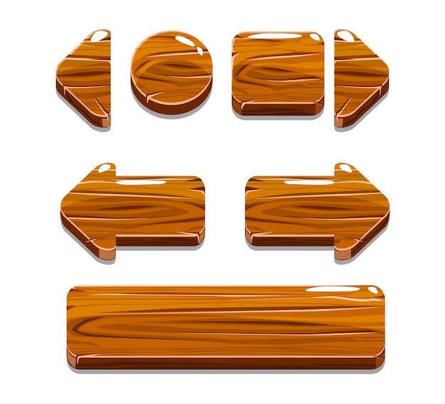Мультяшные деревянные пуговицы для игры Premium векторы