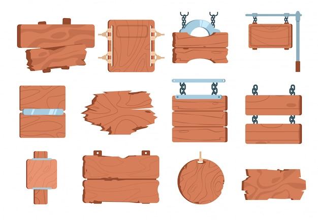 Cartoon wood signboards. sign board wooden plank game banner vintage frame element signpost pointer. Premium Vector