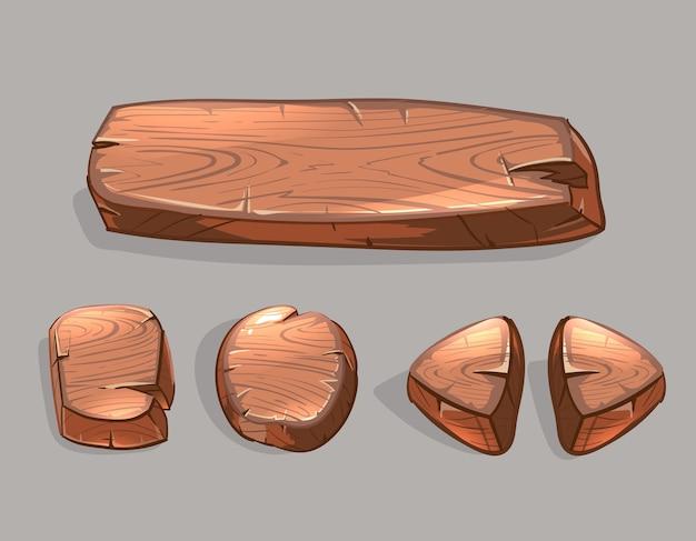 Набор векторных мультфильм деревянные кнопки. иллюстрация игры ui, продолговатая доска и стрелка Бесплатные векторы