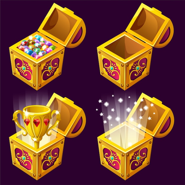 Cartoon wooden isometric chests with treasures Free Vector