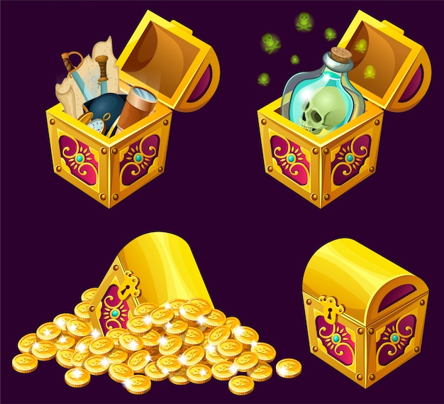 Cartoon wooden isometric chests with treasures. Free Vector