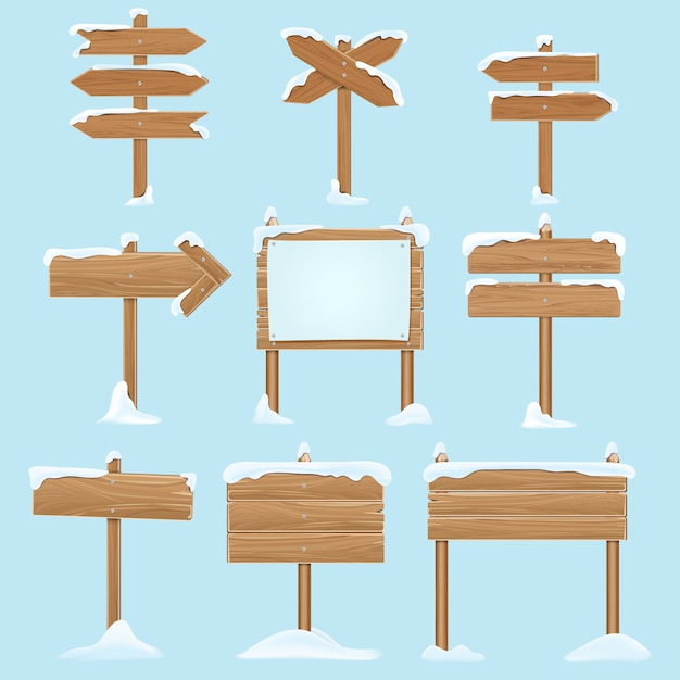Cartoon wooden signs with snow. Premium Vector