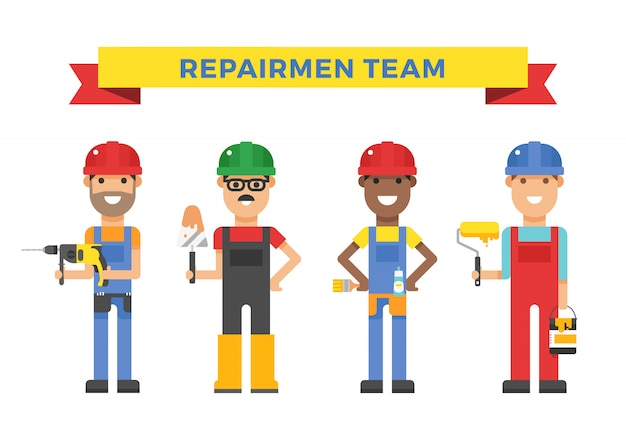 Cartoon workers couple and tools under construction vector illustration Premium Vector