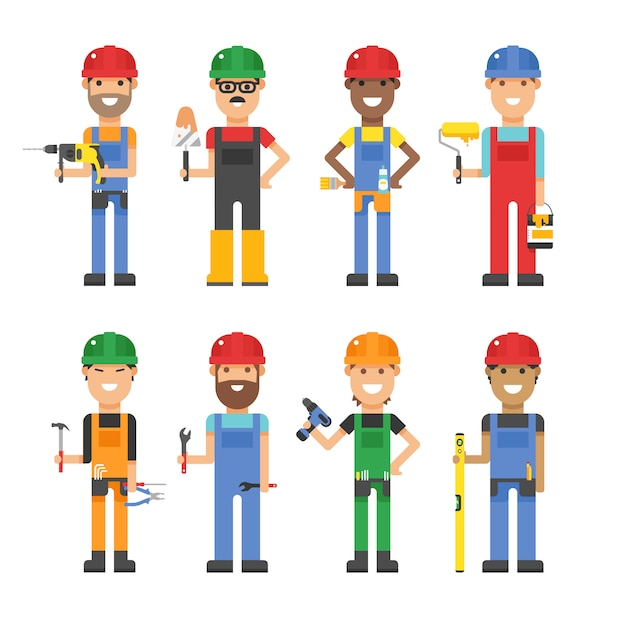 Cartoon workers and other tools under construction vector illustration Premium Vector