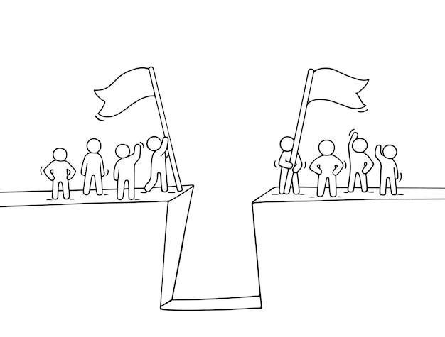 Мультфильм рабочих маленьких людей возле бездны иллюстрации Premium векторы