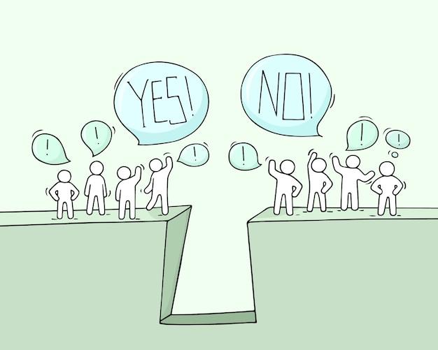 Мультфильм рабочих маленьких людей с речи пузыри. doodle милая миниатюрная сцена команд возле пропасти. рисованной иллюстрации для бизнеса и социального дизайна. Premium векторы