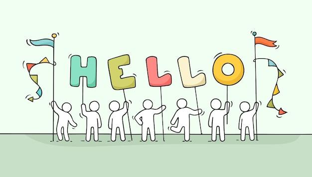 Мультфильм рабочих маленьких людей со словом привет. рисованной иллюстрации для дизайна бизнеса и дружбы. Premium векторы
