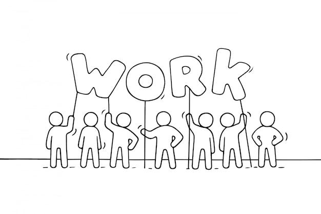 Мультфильм рабочих маленьких людей со словом работа. Premium векторы