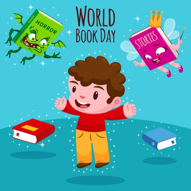 Cartoon world book day illustration with man Free Vector