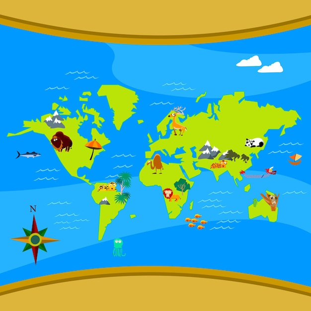 Color world map vector material world map color map png and vector cartoon world map vector premium vector gumiabroncs