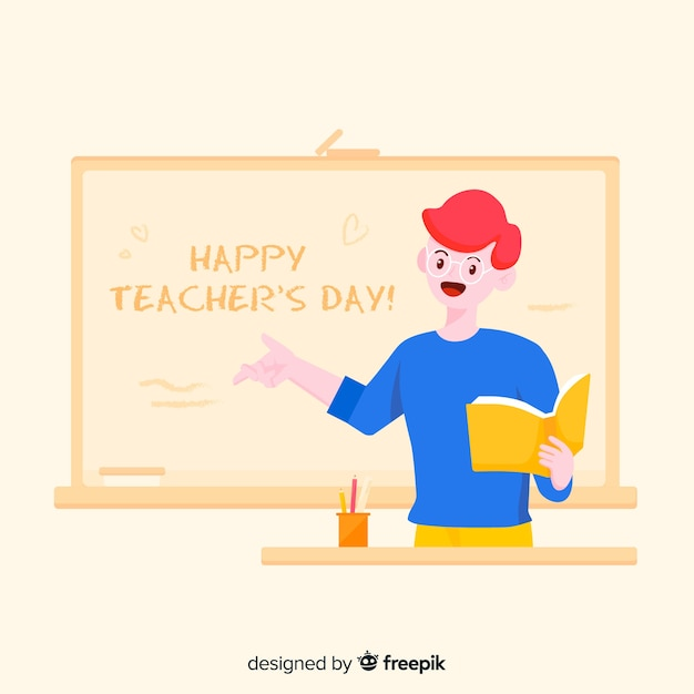 Cartoon world teacher's day background Free Vector