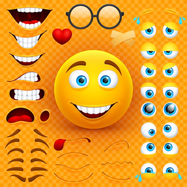 Cartoon yellow 3d smiley face vector character creation constructor. emoji with emotions, eyes and mouthes set Premium Vector