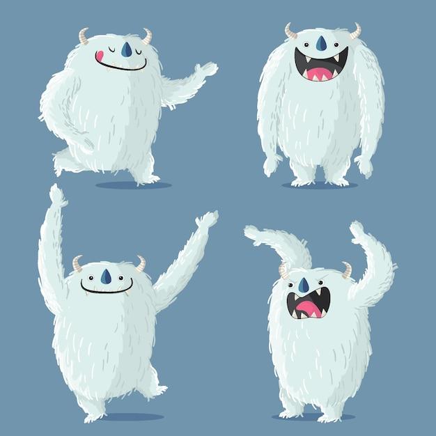 漫画イエティ忌まわしい雪だるまキャラクターコレクション 無料ベクター