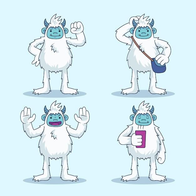Cartoon yeti abominevole collezione di personaggi del pupazzo di neve Vettore gratuito