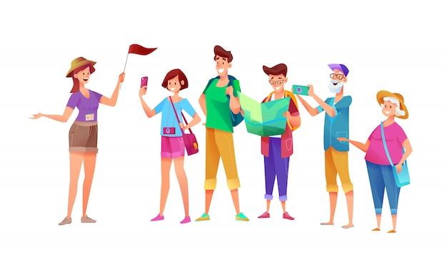 Мультфильм молодые и старые туристы группы на экскурсию с гидом девушка с флагом. летние символы путешественников на отдыхе. молодой мужчина и женщина, старшие женские и мужские персонажи с камерой. Premium векторы
