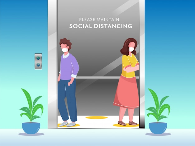 Cartoon young boy and girl wearing protective mask with maintaining social distance in elevator to prevent from avoid coronavirus. Premium Vector