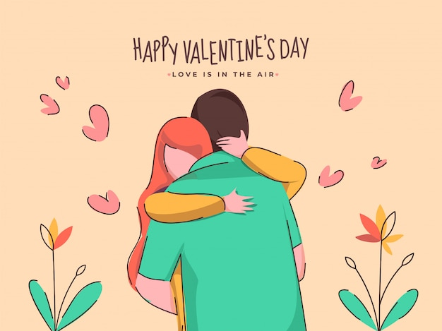 Cartoon young couple hugging with hearts and plant on peach brown background for happy valentine's day, love is in the air concept. Premium Vector