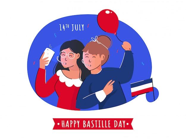 Мультяшный молодые девушки принимая selfie вместе с воздушным шаром и флаг франции на абстрактный фон для 14 июля, счастливый день взятия бастилии Premium векторы