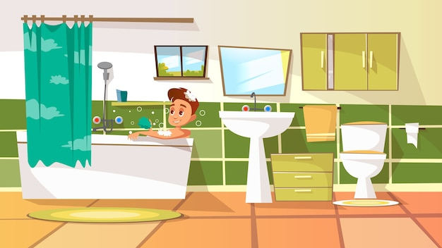Cartoon Young Man Having Bath In Bathtub Illustration With Relaxing Bubble Free