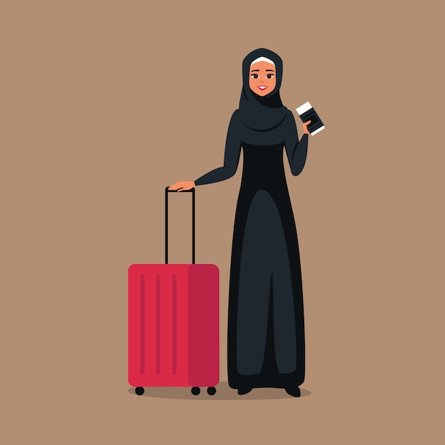 Cartoon young muslim woman stands with tickets and luggage for travel. Premium Vector