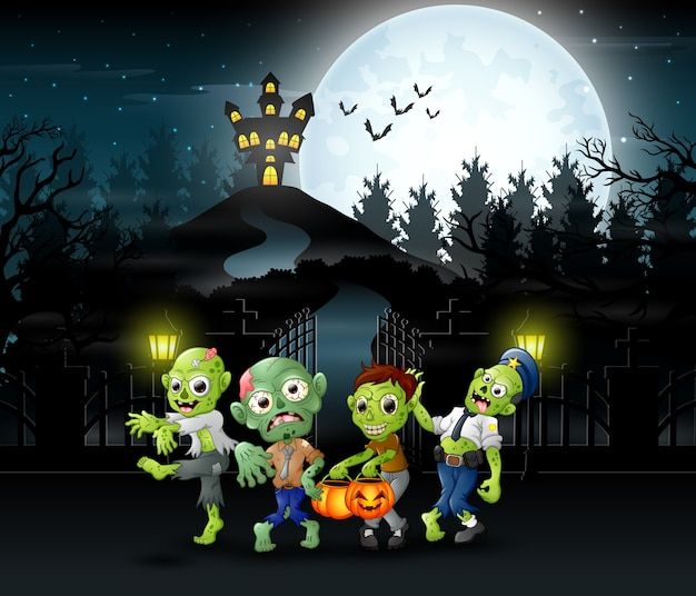Cartoon of zombie group on the halloween Premium Vector