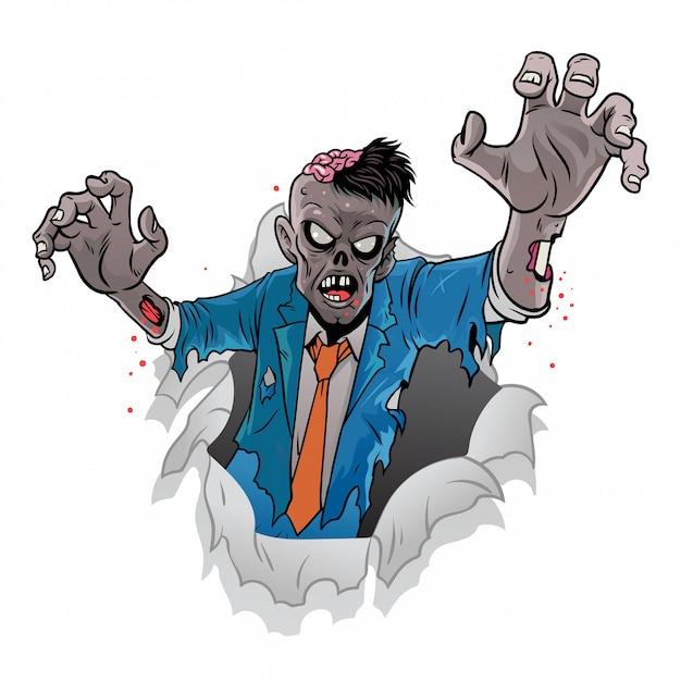 Cartoon zombie of halloween coming out of the broken paper Premium Vector