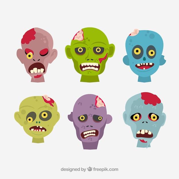 Cartoon zombie heads Free Vector
