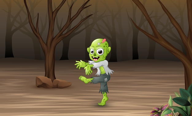 Cartoon zombies in the dead forest Premium Vector