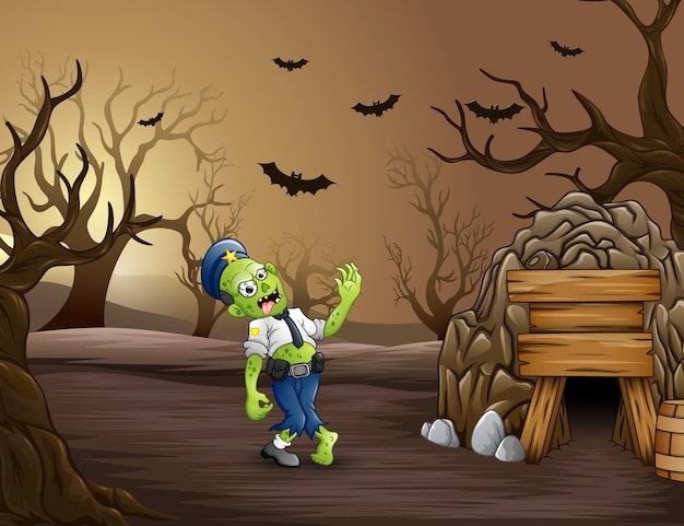 Cartoon zombies police beside of tunnel Premium Vector