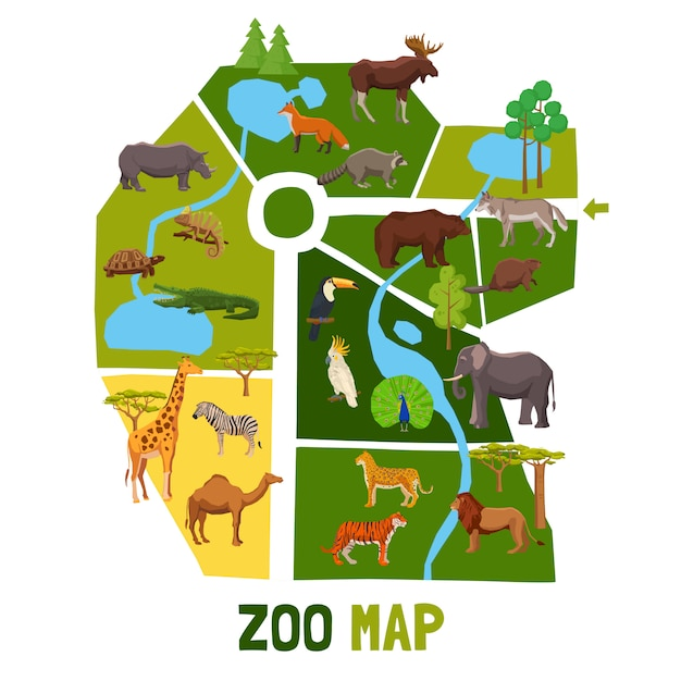 Cartoon zoo map with animals Free Vector