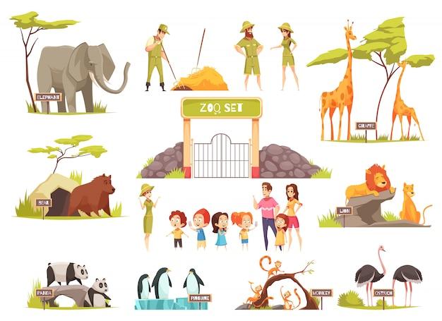 Set di zoo dei cartoni animati Vettore gratuito