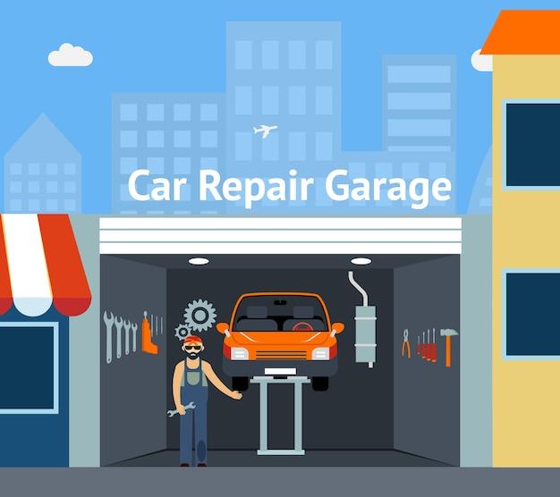Garage di riparazione auto cartooned con illustrazione di segnaletica con riparatore Vettore gratuito