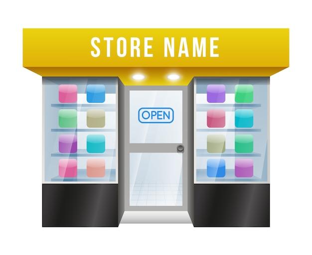 Negozio di applicazioni colorate con cartoni animati con nome del negozio modificabile su sfondo bianco. Vettore gratuito