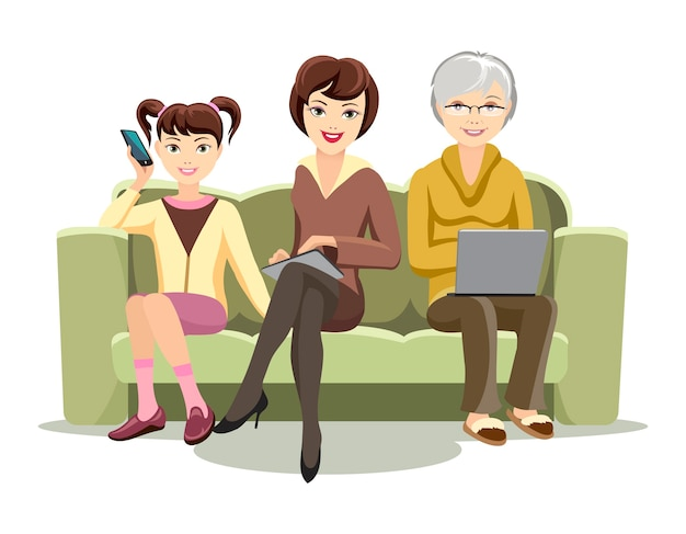 Cartooned females sitting on sofa with gadgets illustration Free Vector