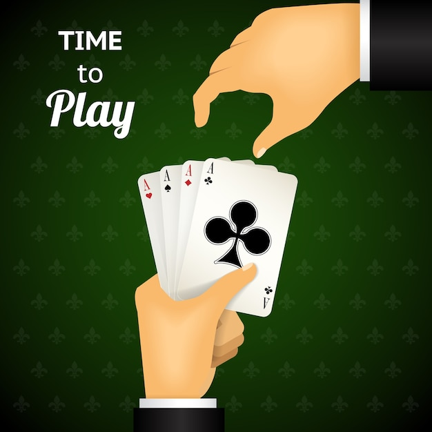 Cartooned hand playing cards with four aces  emphasizing time to play  on green patterned background. Free Vector