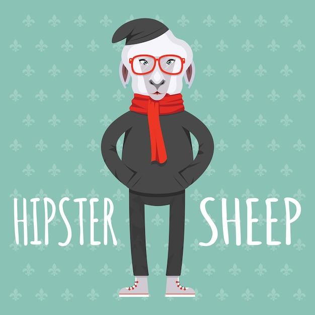Cartooned hipster pecore in stile piatto illustrazione su sfondo verde chiaro Vettore gratuito